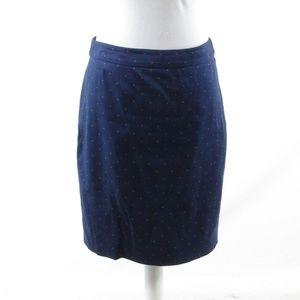J. Crew blue polka dot cotton blend pencil skirt 4
